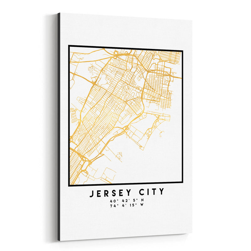 Minimal Jersey City City Map Canvas Art Print