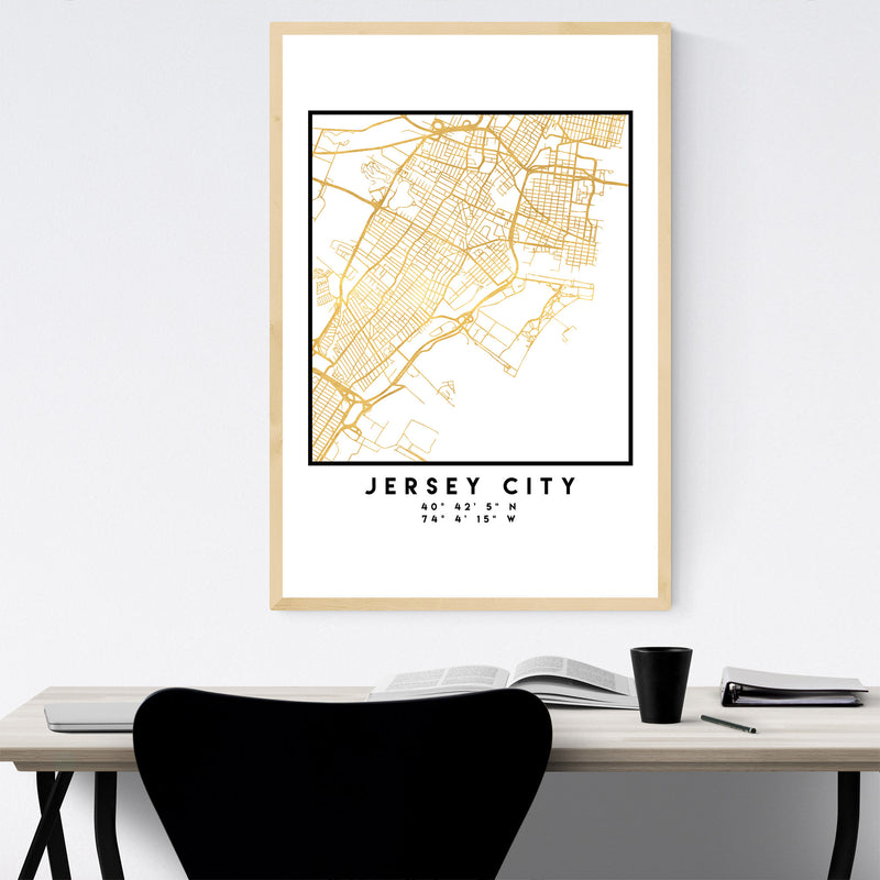 Minimal Jersey City City Map Framed Art Print