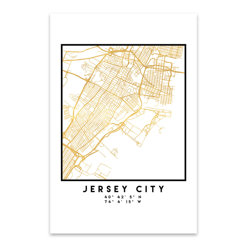 Minimal Jersey City City Map Metal Art Print