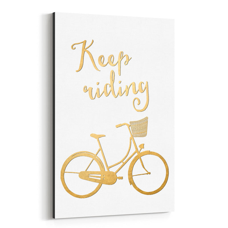 Bicycle Gold Inspirational  Canvas Art Print