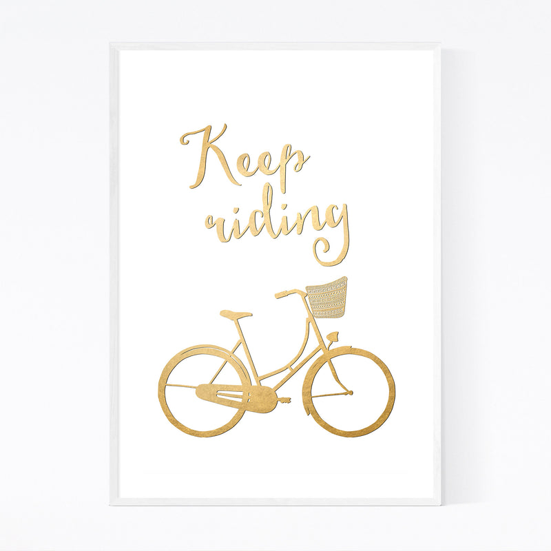 Bicycle Gold Inspirational  Framed Art Print