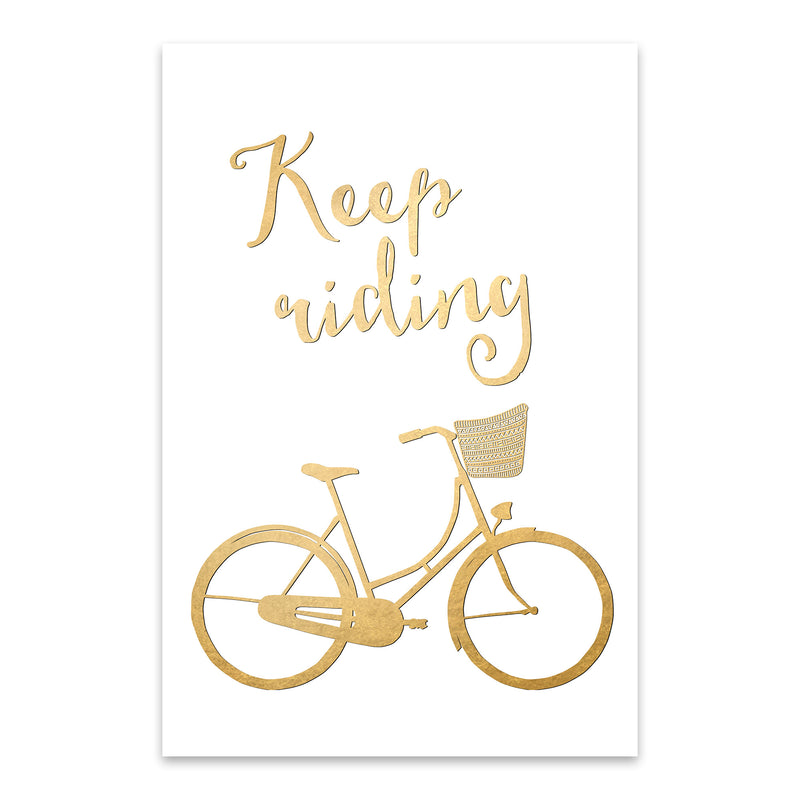 Bicycle Gold Inspirational  Metal Art Print