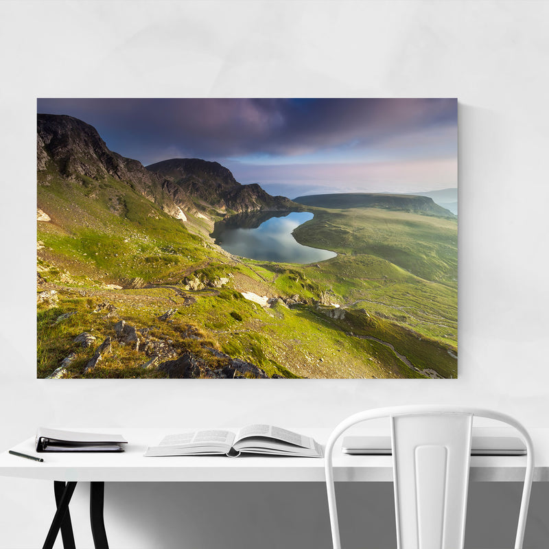 Bulgaria Mountain Lake Landscape Canvas Art Print