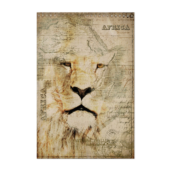 Africa Lion Head Map Vintage Art Print
