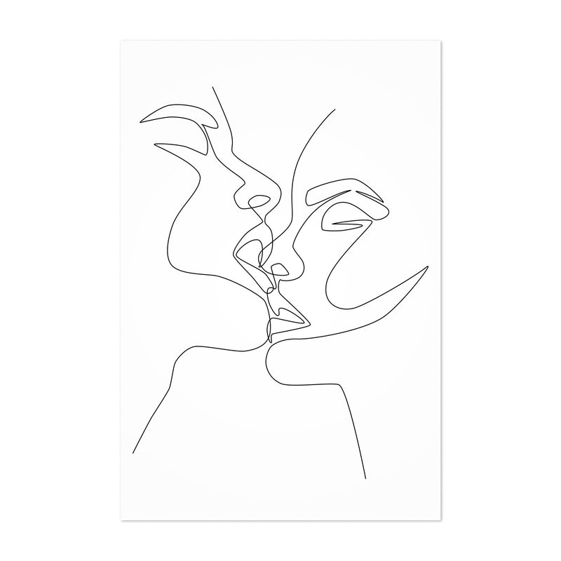 Scandinavian Female Kiss Line Art Print