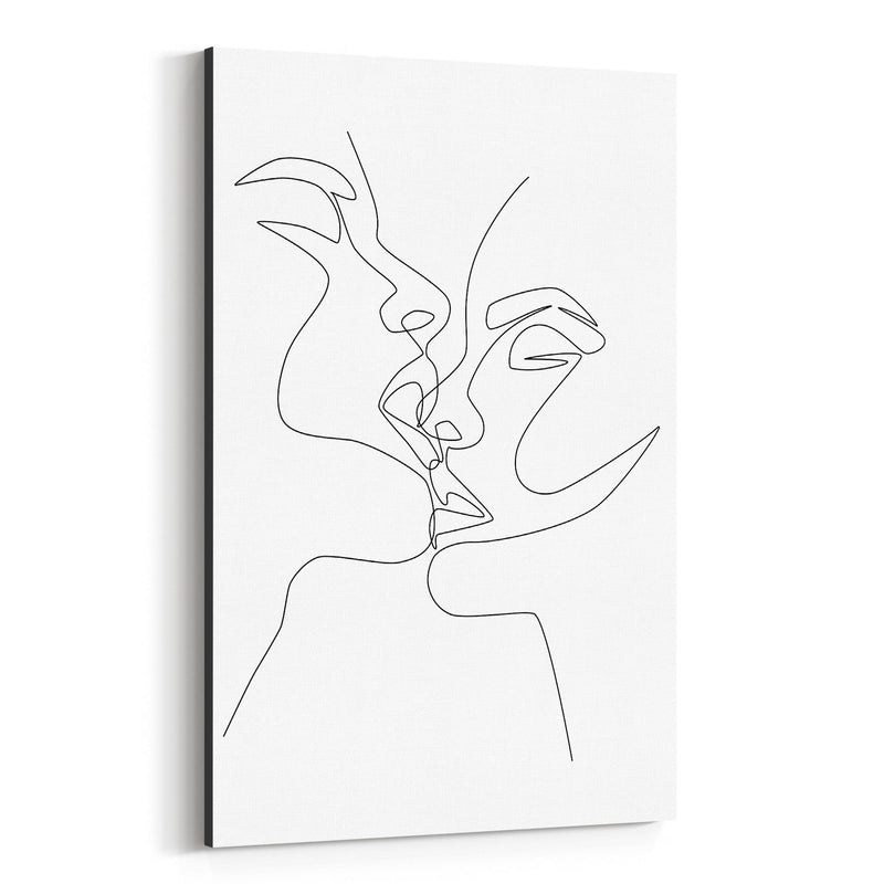 Scandinavian Female Kiss Line Canvas Art Print