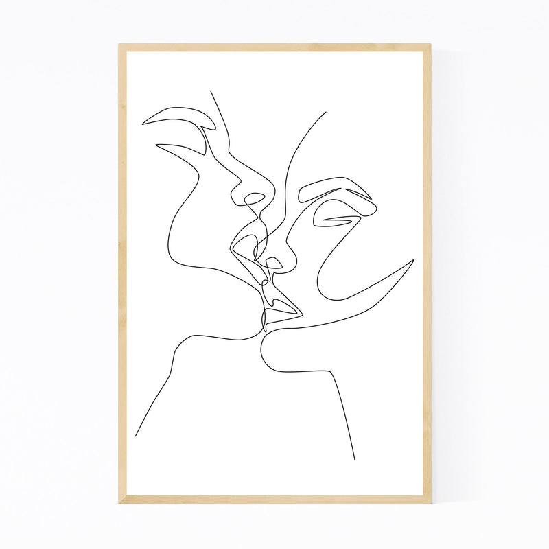 Scandinavian Female Kiss Line Framed Art Print