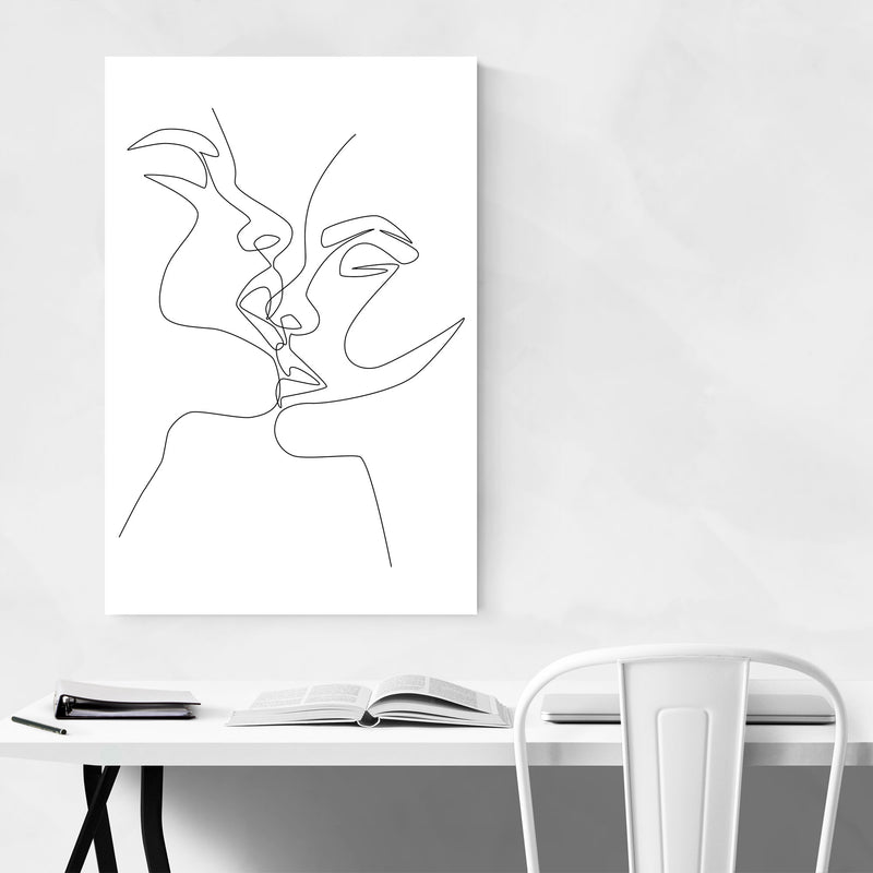 Scandinavian Female Kiss Line Metal Art Print