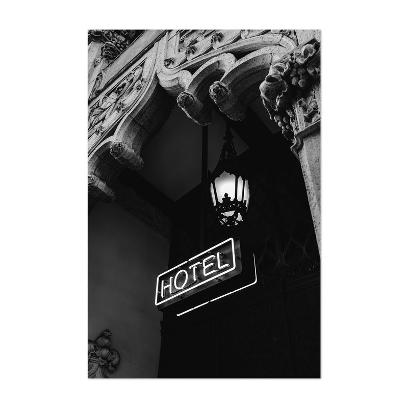 Architecture Neon Hotel Sign  Art Print