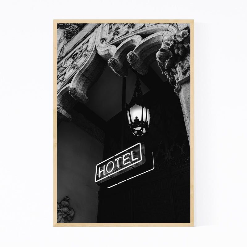 Architecture Neon Hotel Sign  Framed Art Print