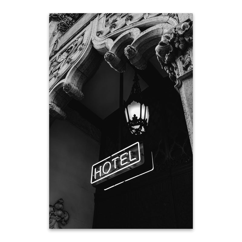 Architecture Neon Hotel Sign  Metal Art Print
