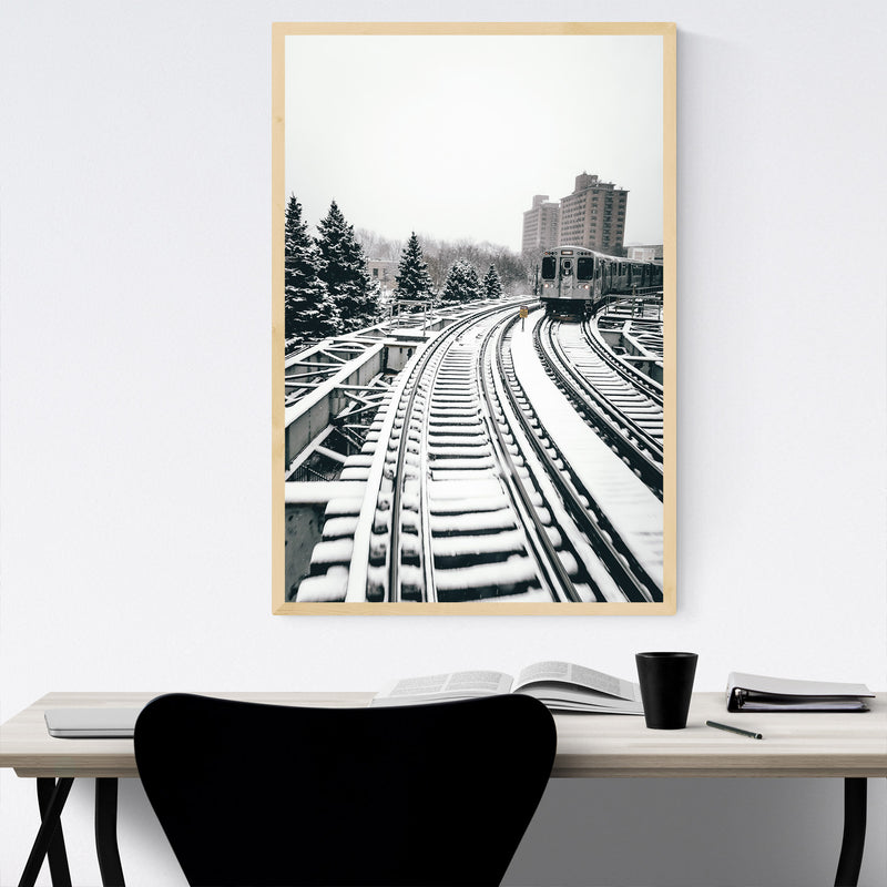 L Train Chicago Illinois Urban  Framed Art Print