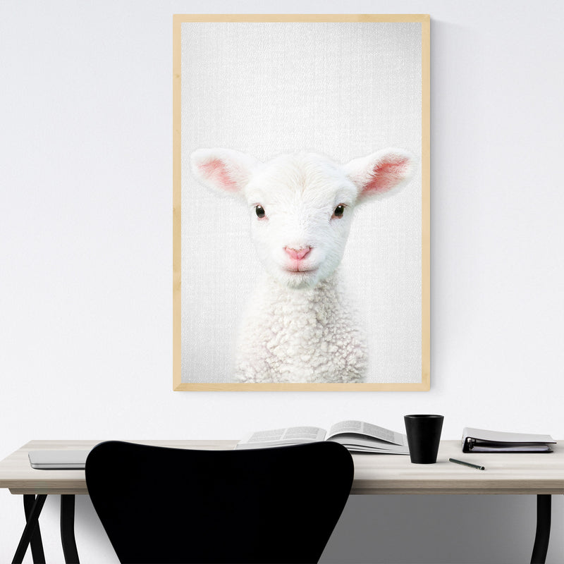 Cute Lamb Peeking Nursery Animal Framed Art Print