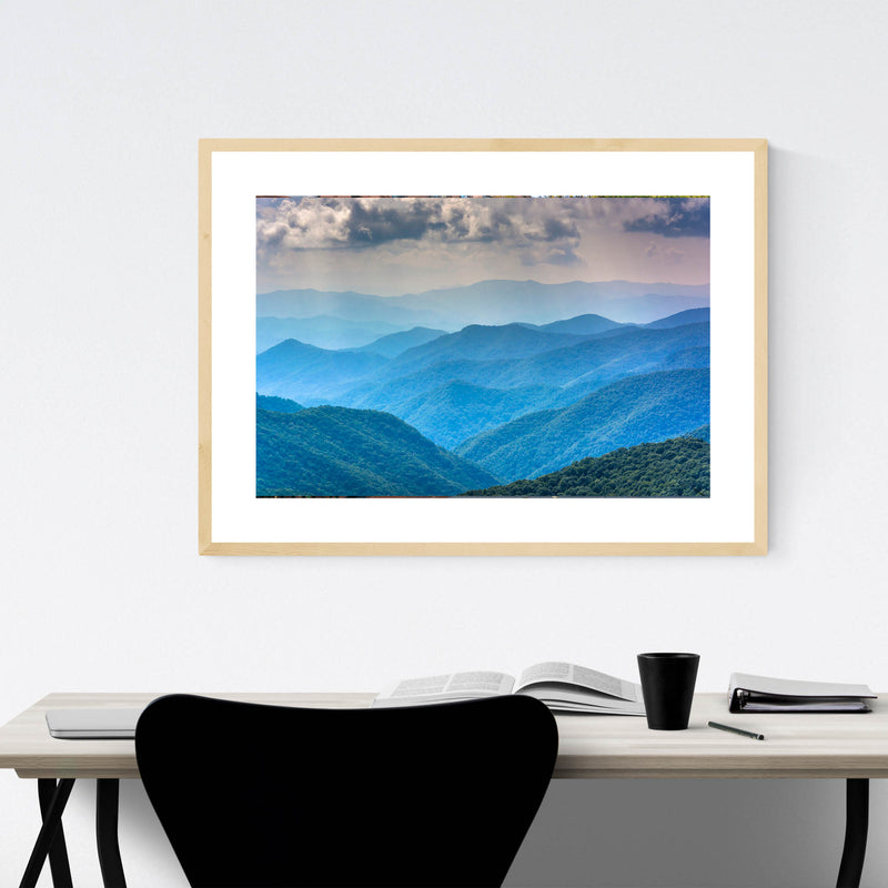 North Carolina Blue Mountains Framed Art Print