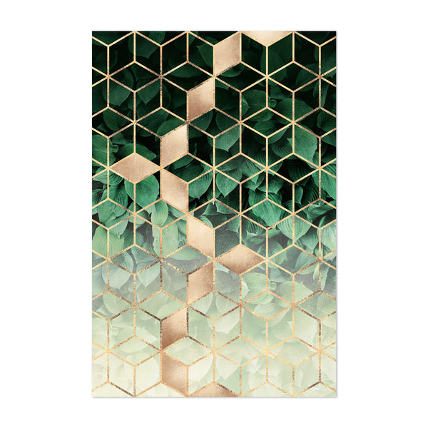 Green Art Deco Geometric Design Art Print