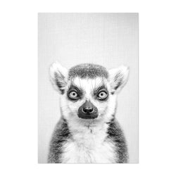 Lemur Peeking Nursery Animal Art Print