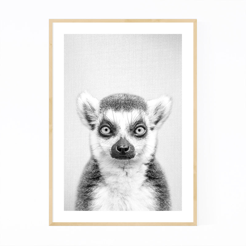 Lemur Peeking Nursery Animal Framed Art Print