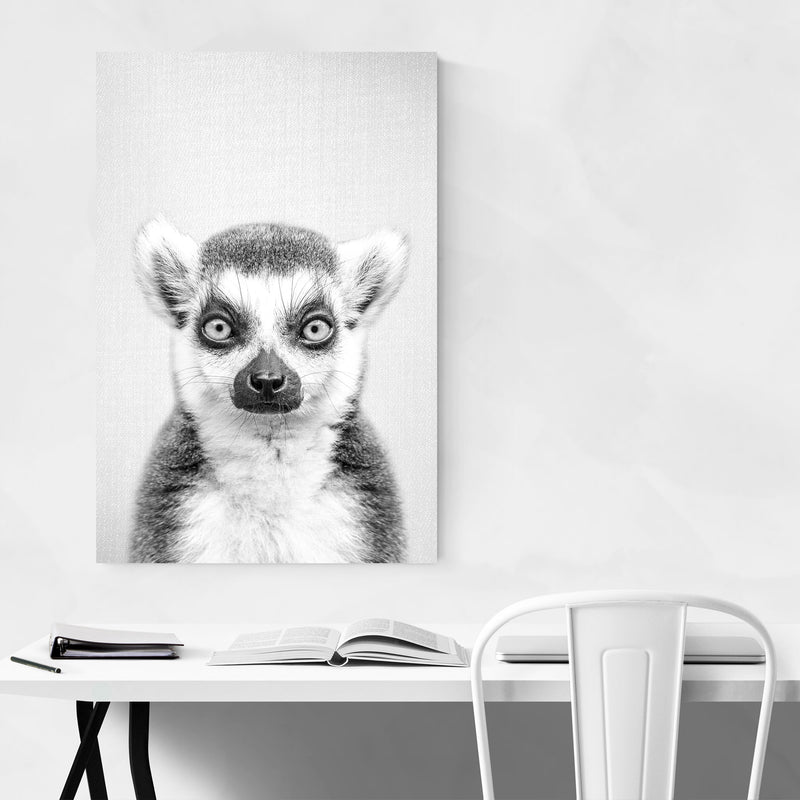 Lemur Peeking Nursery Animal Metal Art Print