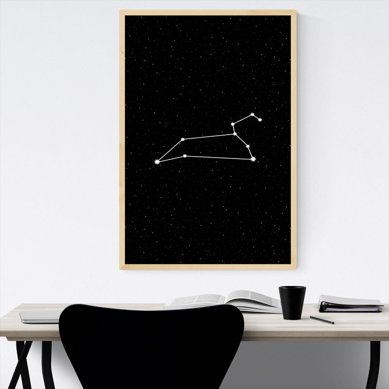 Night Sky Leo Astrology Zodiac Framed Art Print