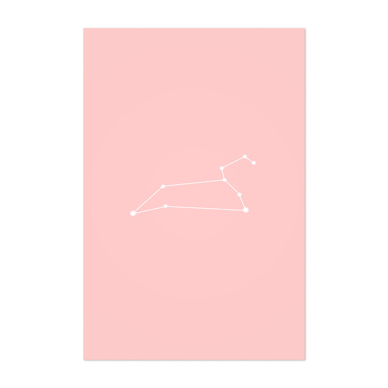 Pink Leo Astrology Zodiac Art Print