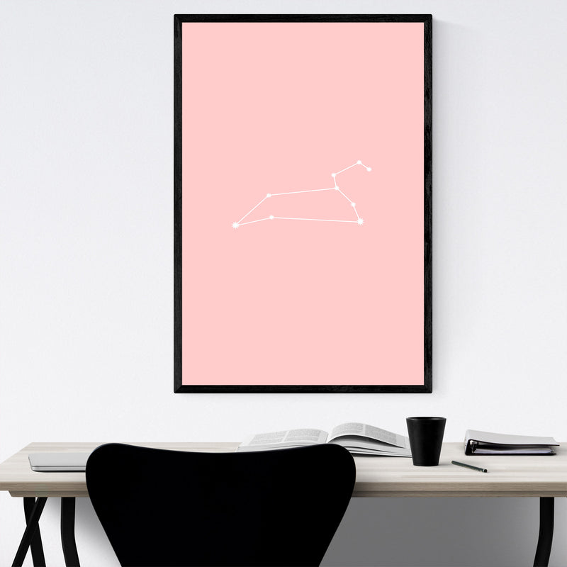 Pink Leo Astrology Zodiac Framed Art Print