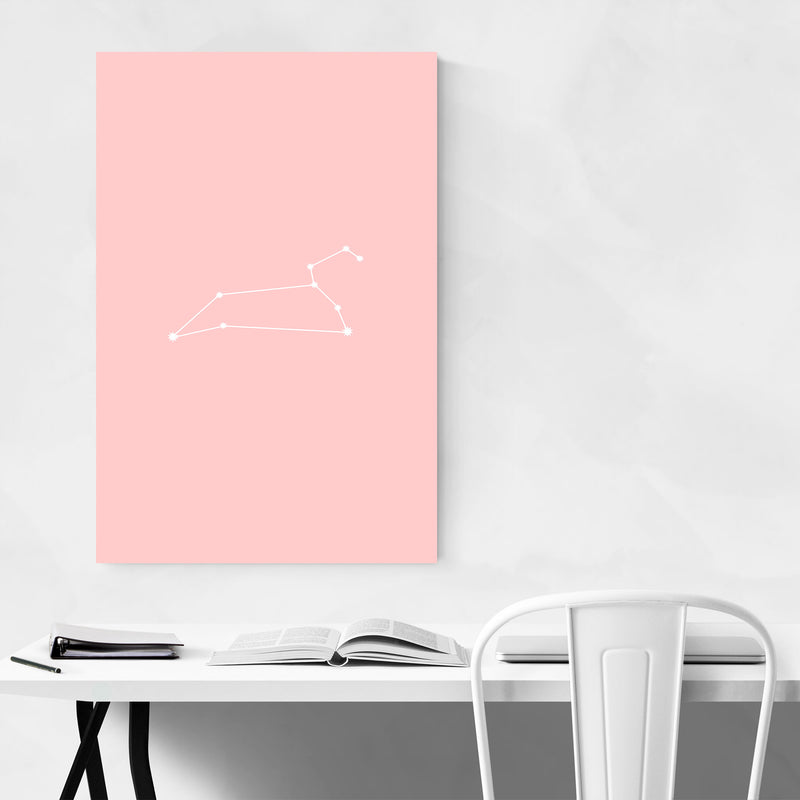Pink Leo Astrology Zodiac Canvas Art Print