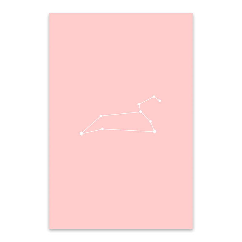 Pink Leo Astrology Zodiac Metal Art Print