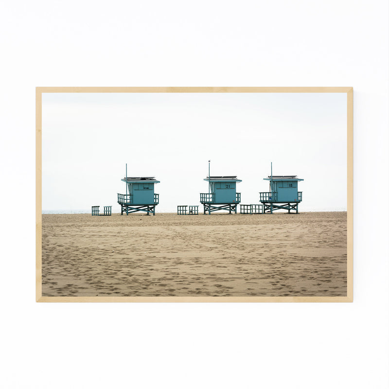 Venice Beach Lifeguard Stands Framed Art Print