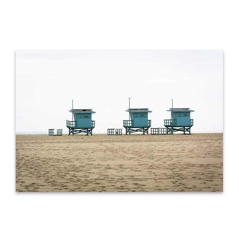 Venice Beach Lifeguard Stands Metal Art Print