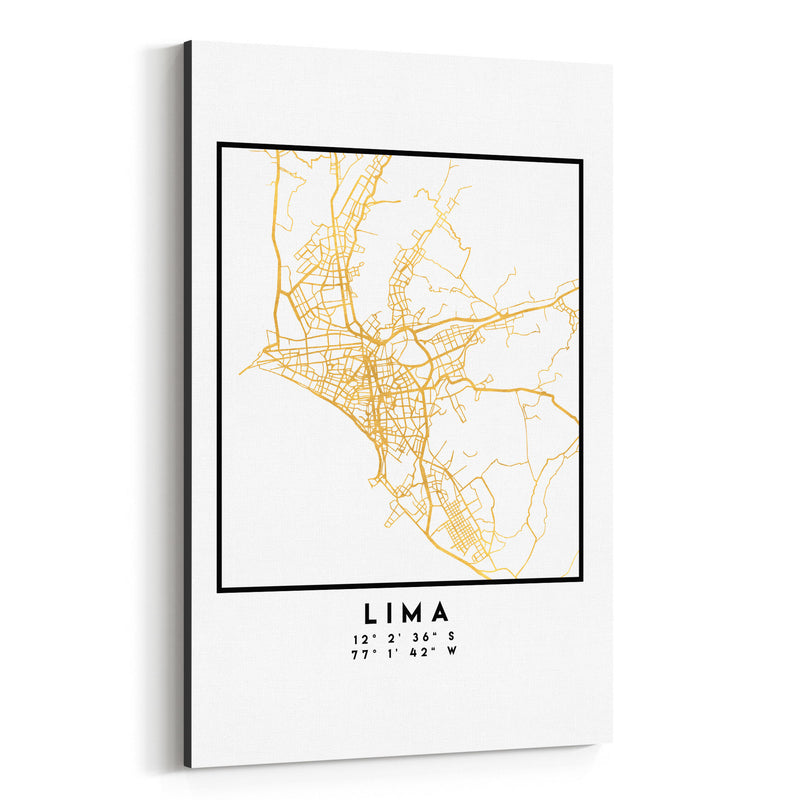 Minimal Lima City Map Canvas Art Print