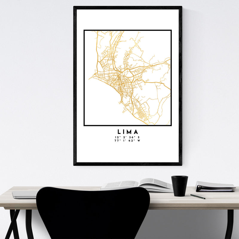 Minimal Lima City Map Framed Art Print