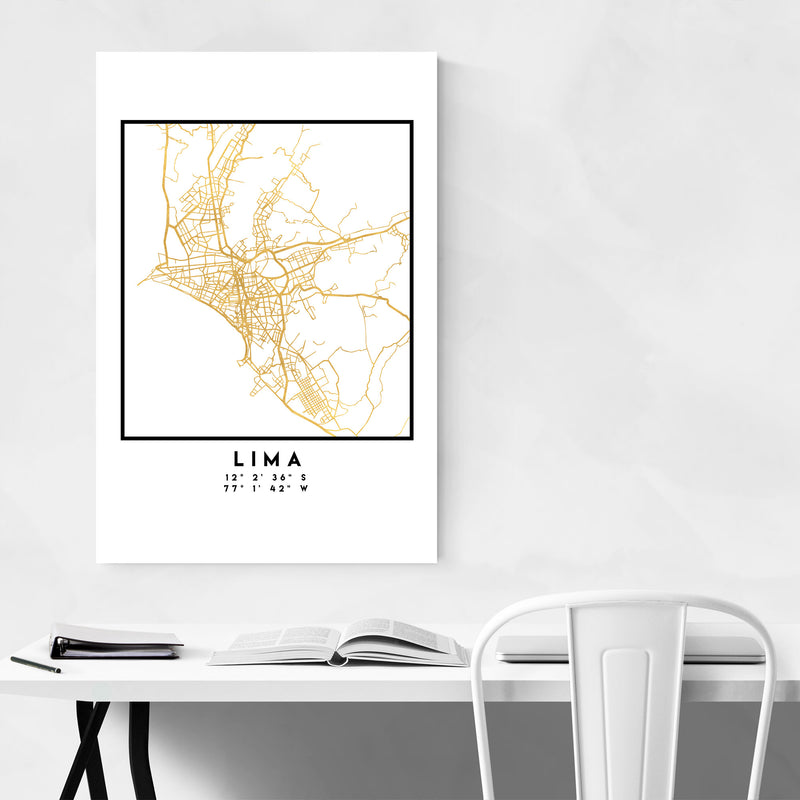 Minimal Lima City Map Metal Art Print