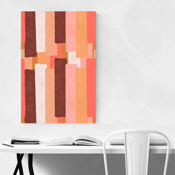 Abstract Living Coral Pantone Art Print