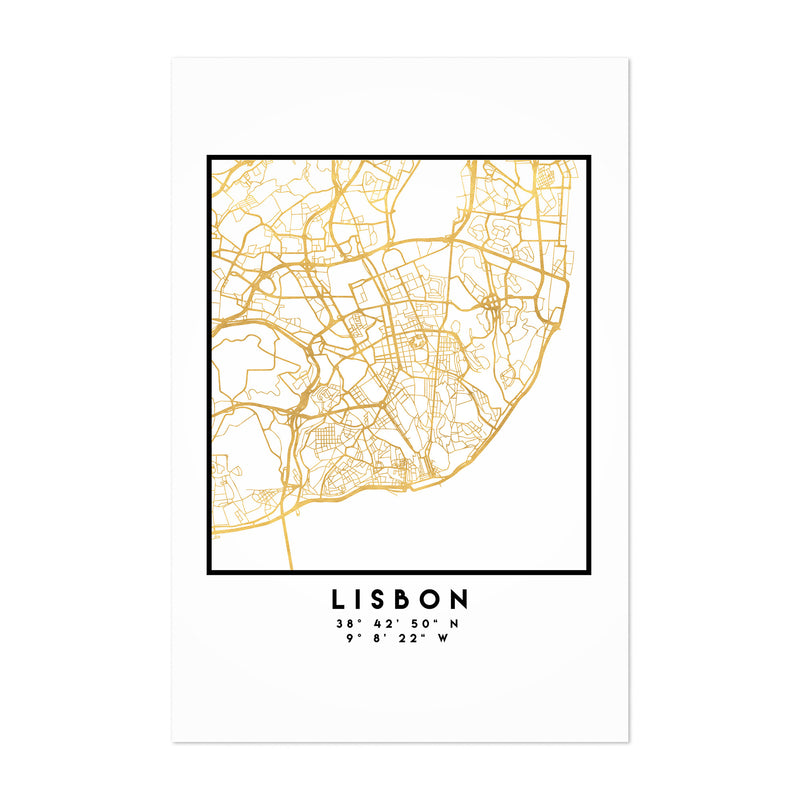 Minimal Lisbon City Map Art Print
