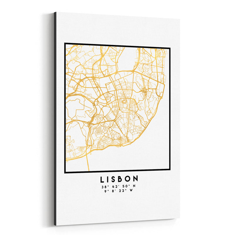 Minimal Lisbon City Map Canvas Art Print
