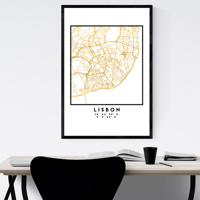 Minimal Lisbon City Map Framed Art Print