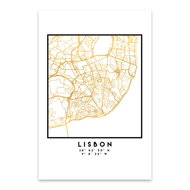 Minimal Lisbon City Map Metal Art Print