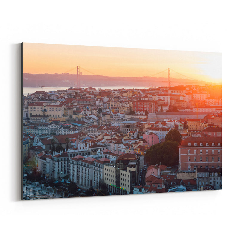 Sunset View Lisbon Portugal Canvas Art Print