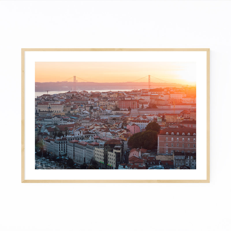 Sunset View Lisbon Portugal Framed Art Print