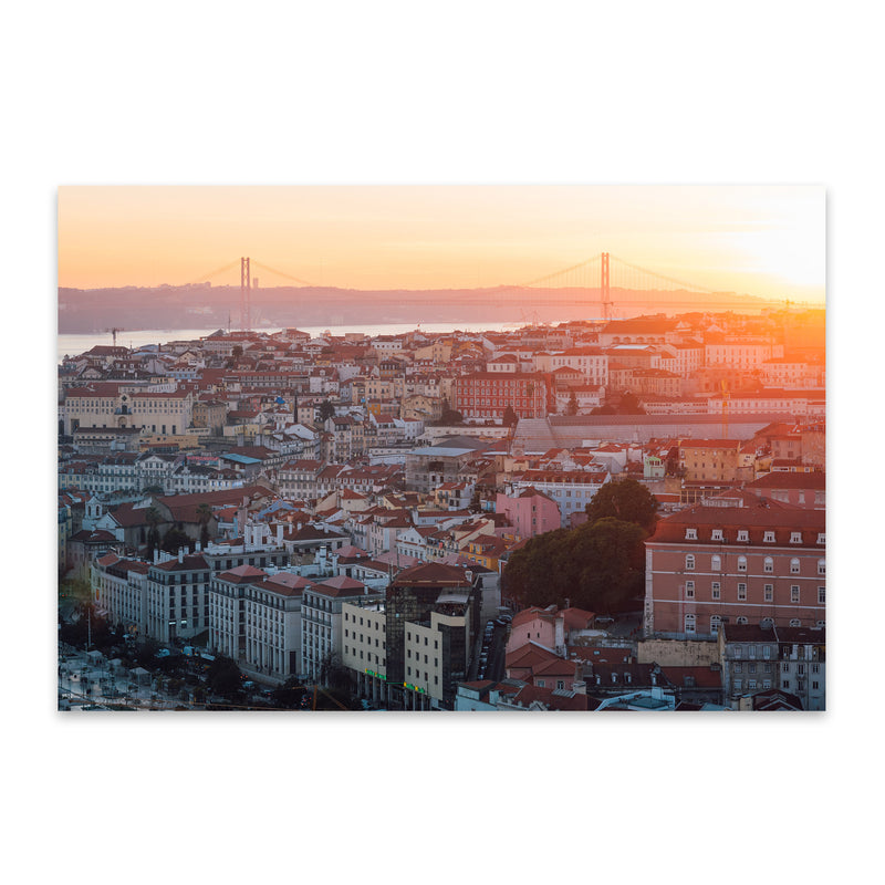 Sunset View Lisbon Portugal Metal Art Print