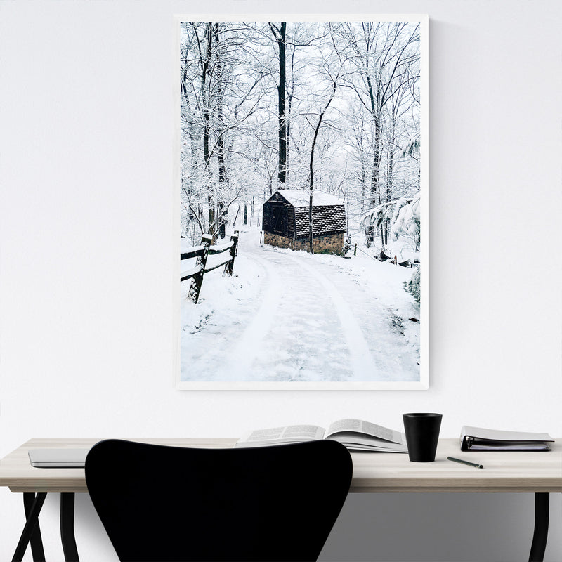 Barn Snow Winter Pennsylvania Framed Art Print
