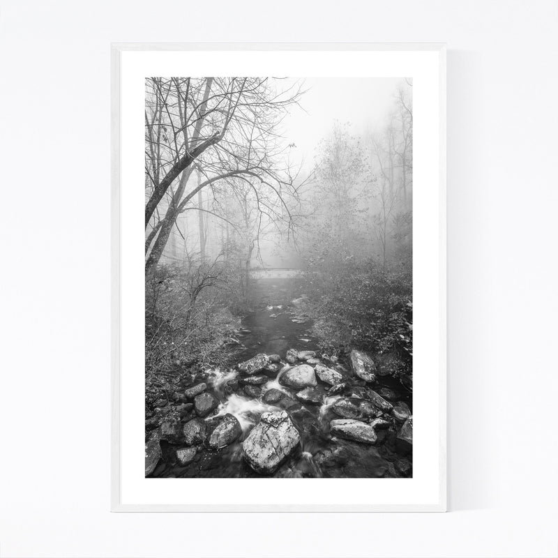 Black & White Blue Ridge Parkway Framed Art Print
