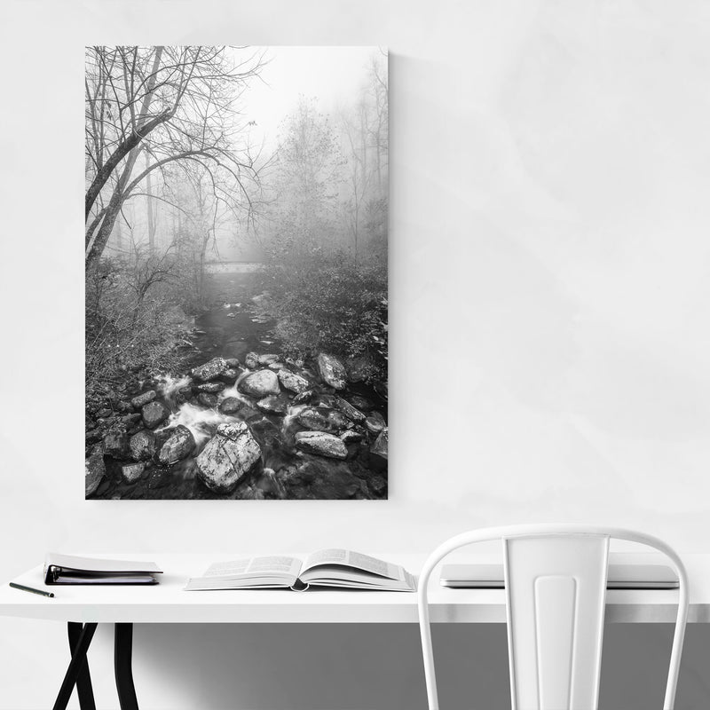 Black & White Blue Ridge Parkway Metal Art Print