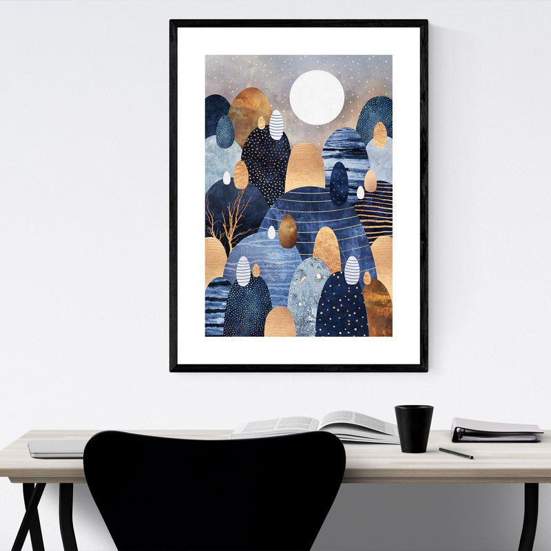 Art Deco Nature Digital Abstract Framed Art Print