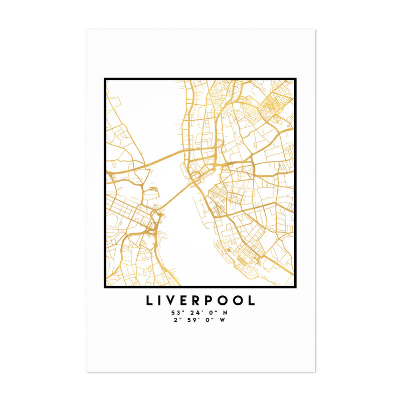 Minimal Liverpool City Map Art Print