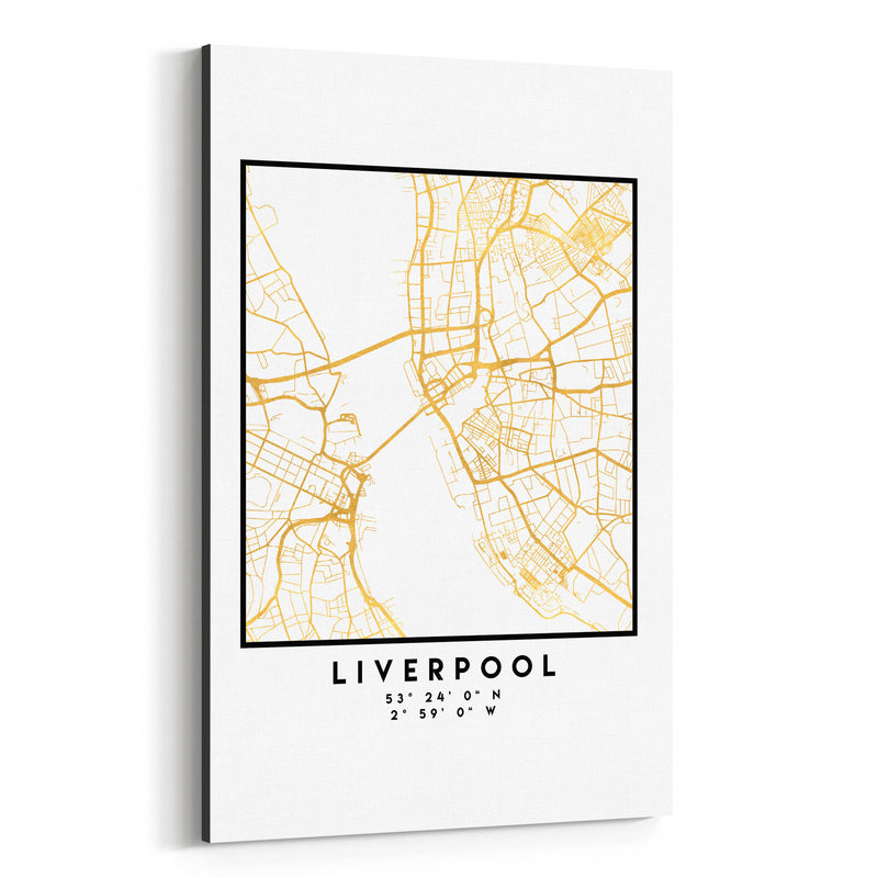 Minimal Liverpool City Map Canvas Art Print