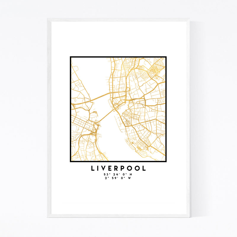 Minimal Liverpool City Map Framed Art Print