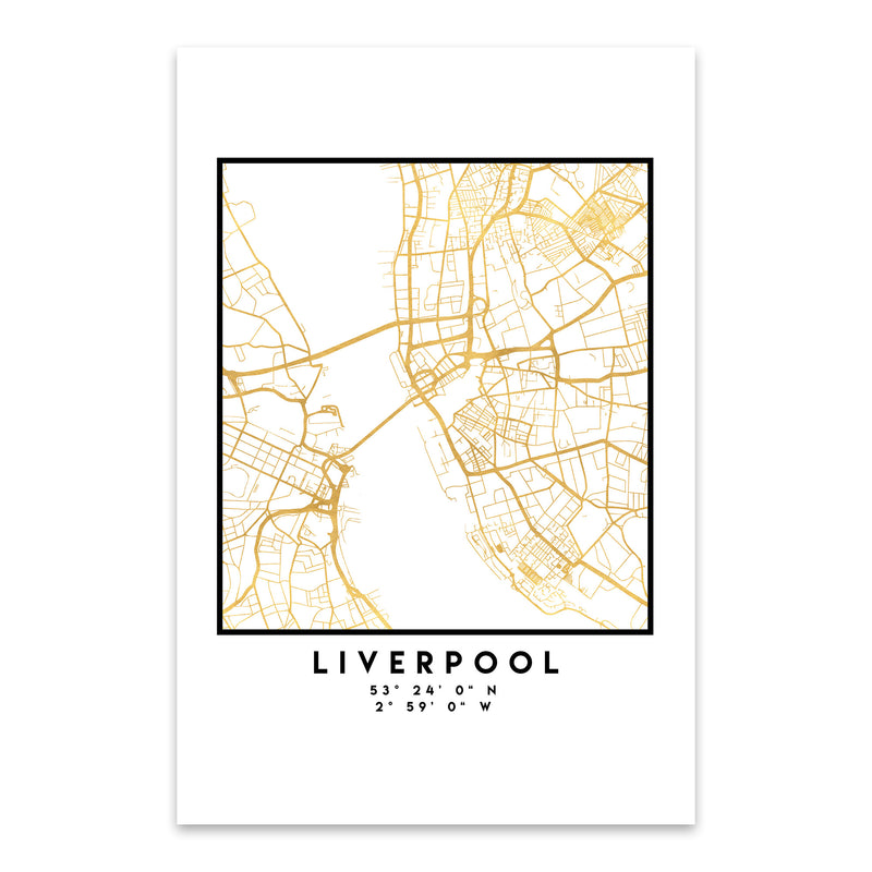 Minimal Liverpool City Map Metal Art Print