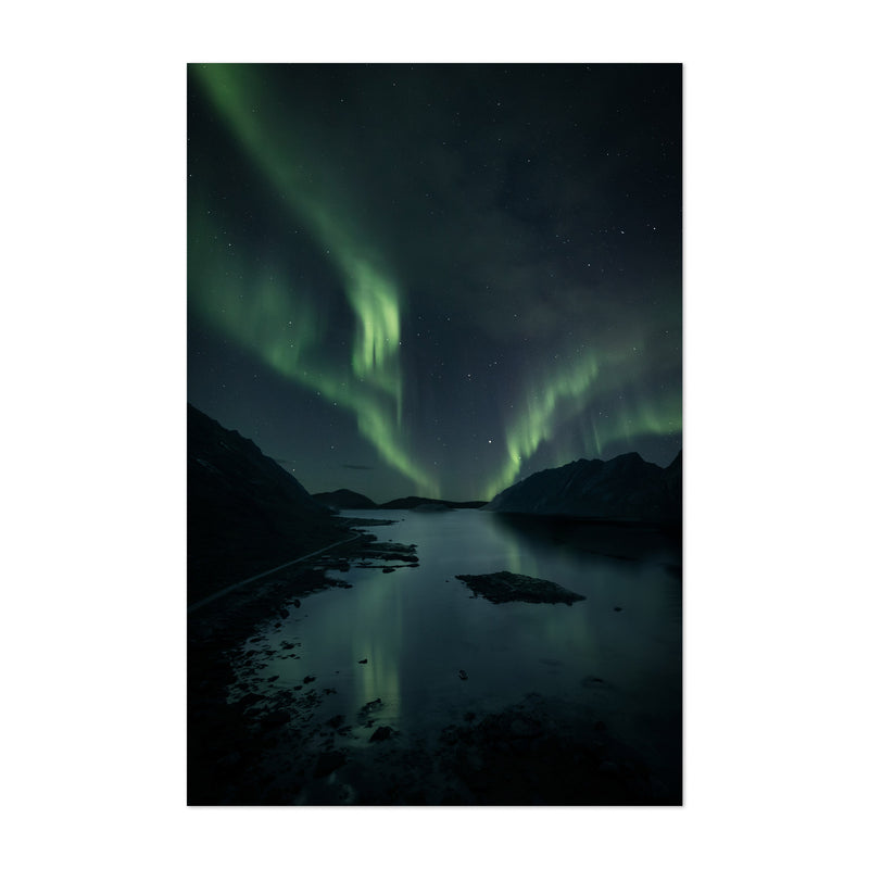 Northern Lights Norway Fjord Art Print