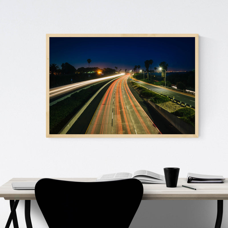 Highway at Night Framed Art Print